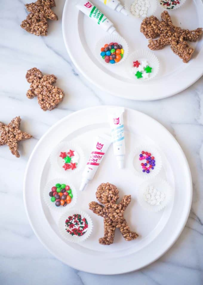decorating Chocolate Rice Krispie Treat Gingerbread Men