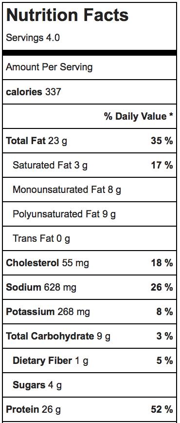 Thai Cashew Chicken_Nutrition