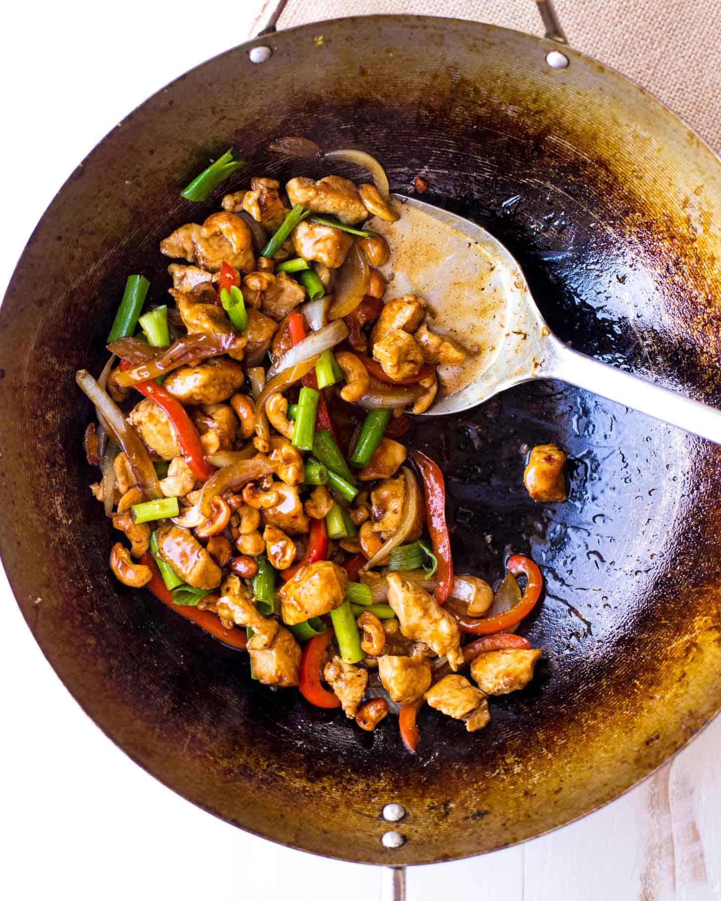 Thai Cashew Chicken in a wok