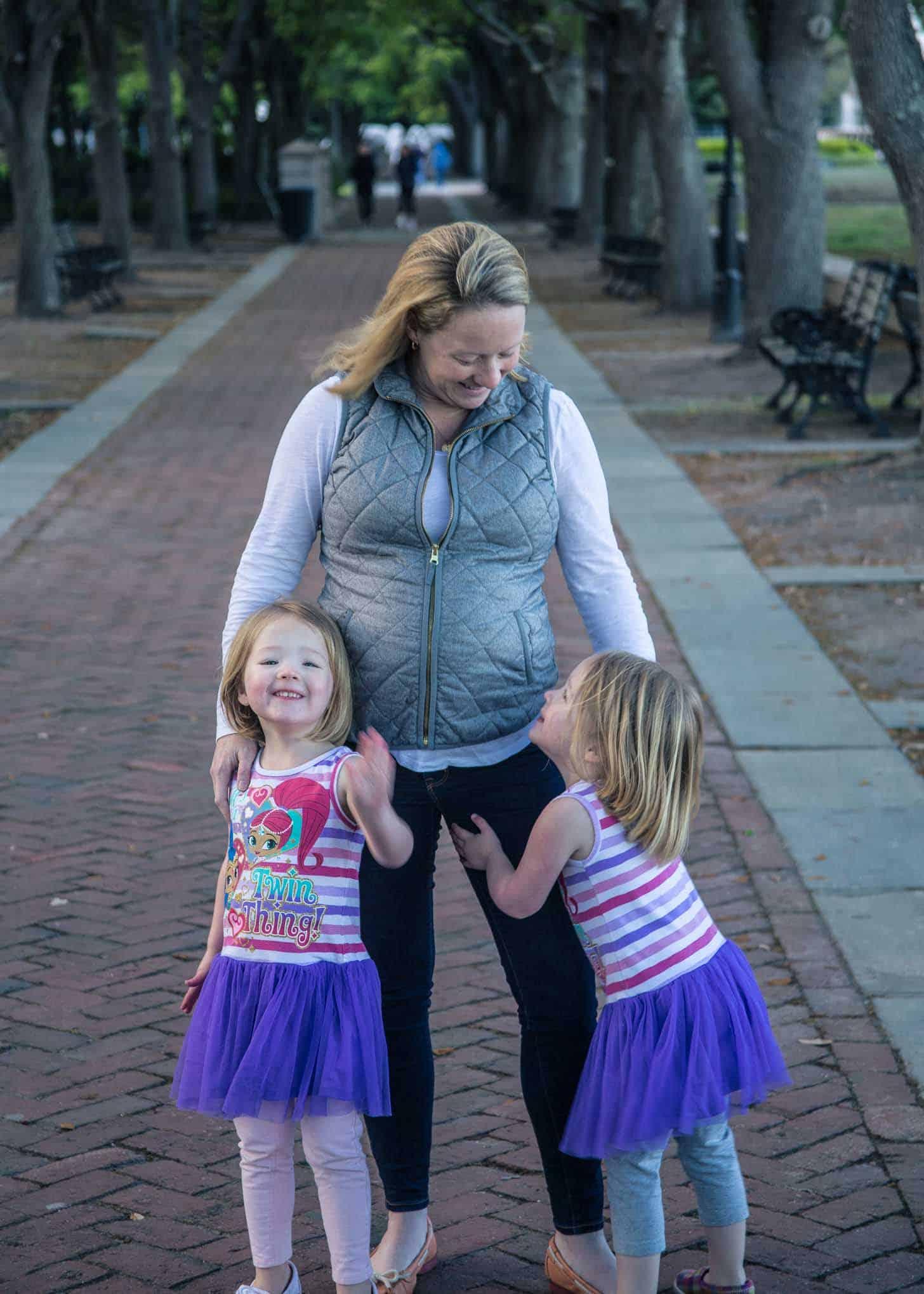 Jess, Molly and Clara on a brick tree-lined path