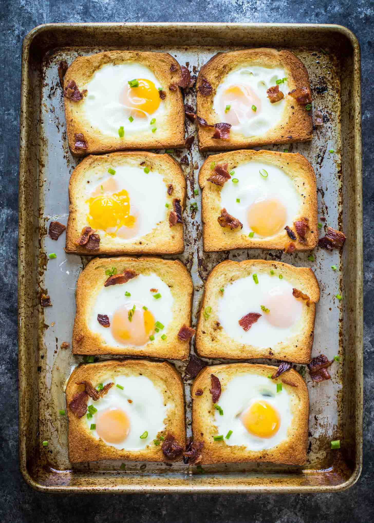 Brioche Baked Egg in a Hole on a sheet pan