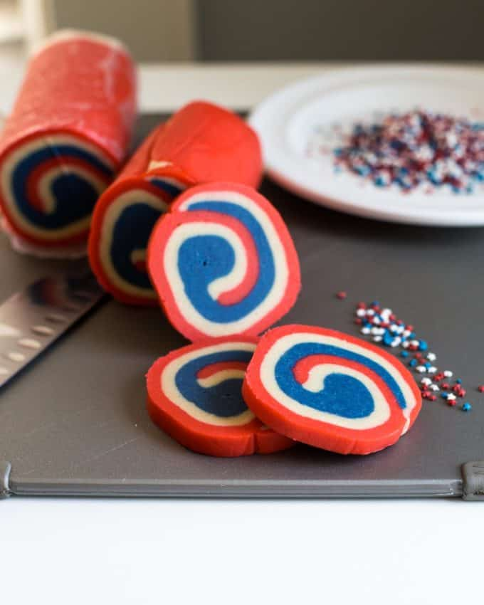 Red White and Blue Pinwheel Cookies