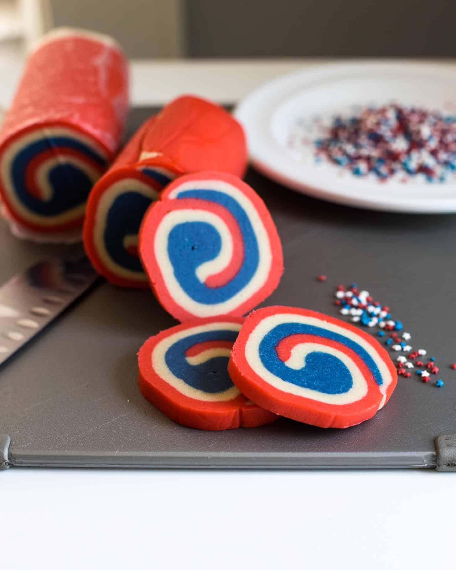 slicing pinwheel cookies