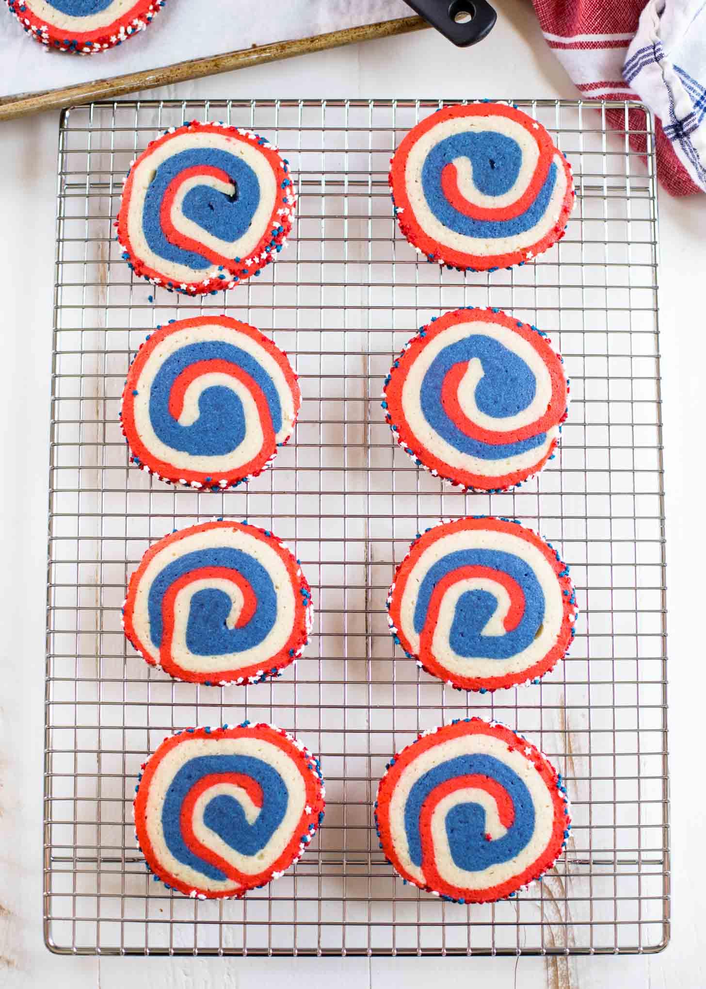 pinwheel cookies on a cooling rack