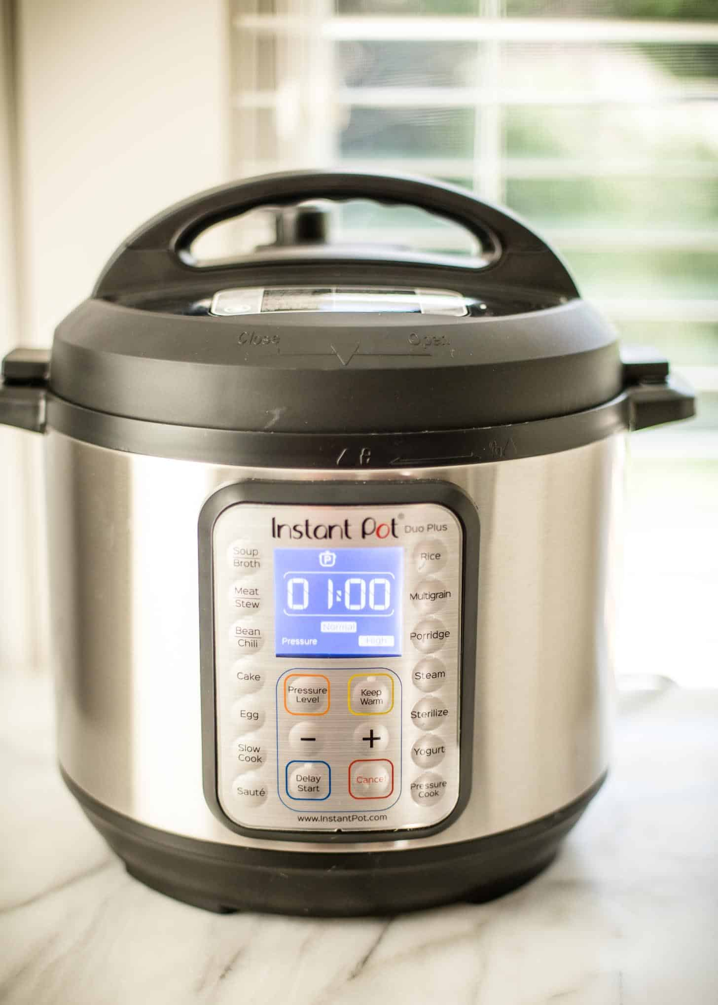 instant pot on a white countertop