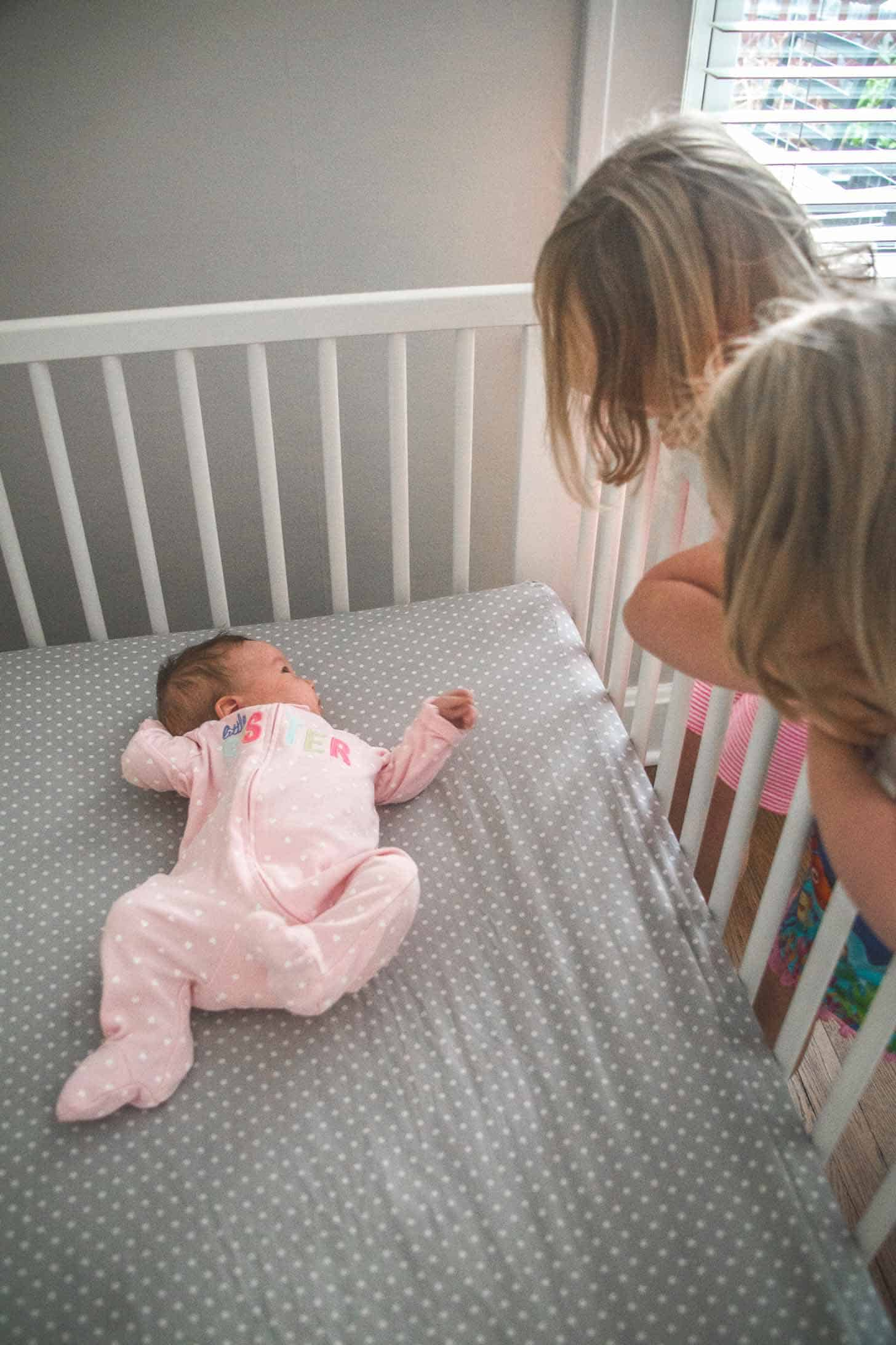 a baby in a crib