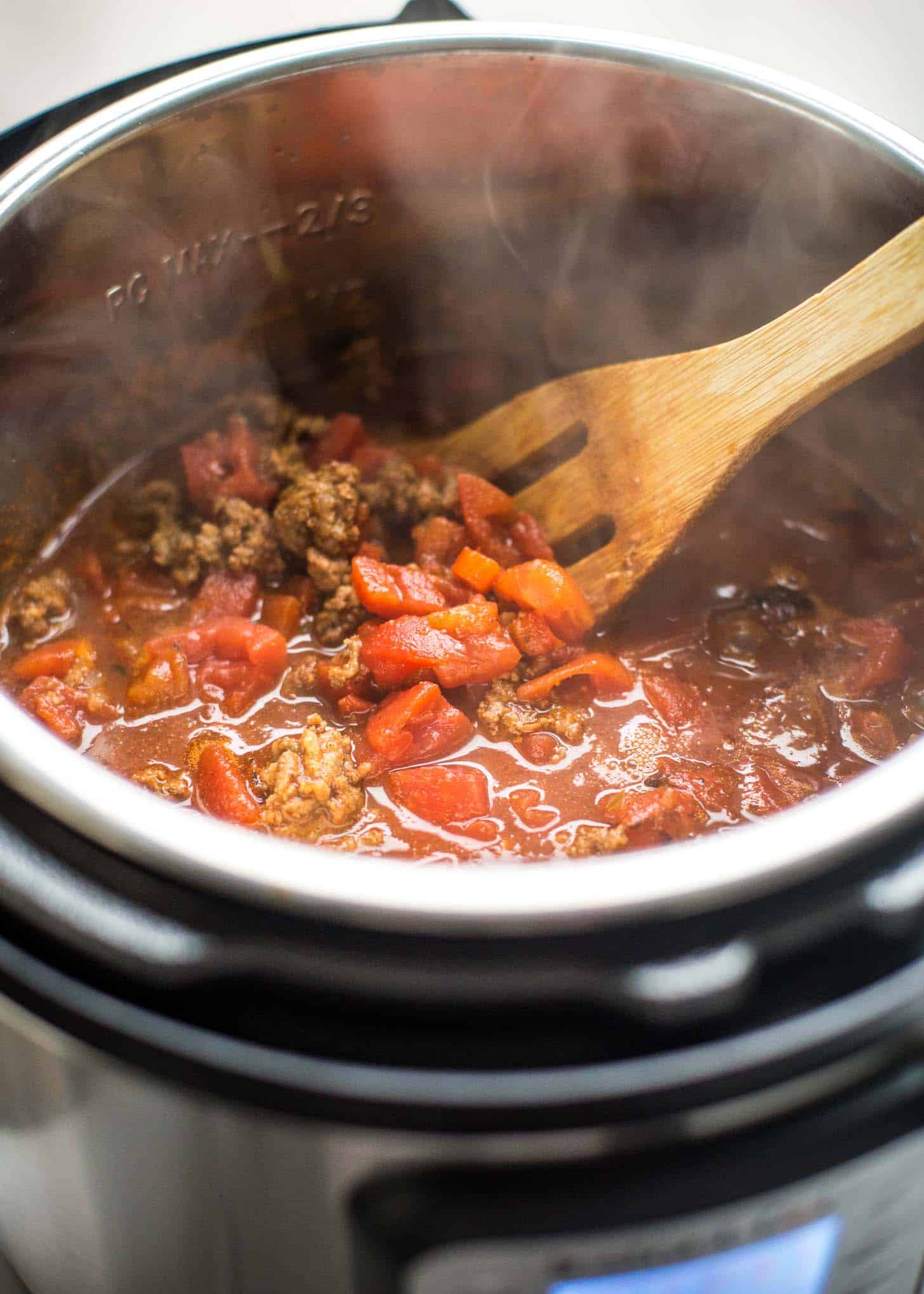 stirring chili in the instant pot