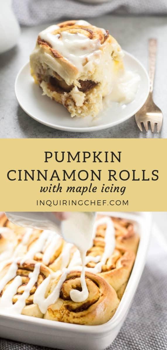 Pumpkin Cinnamon Rolls with Maple Icing