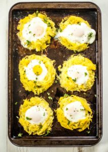 Tray of Spaghetti Squash Egg Nests