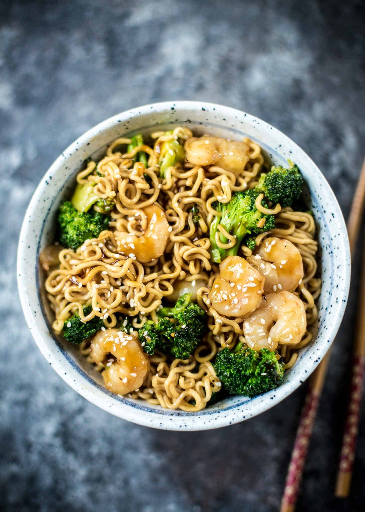Shrimp Teriyaki Noodle Bowls with chopsticks