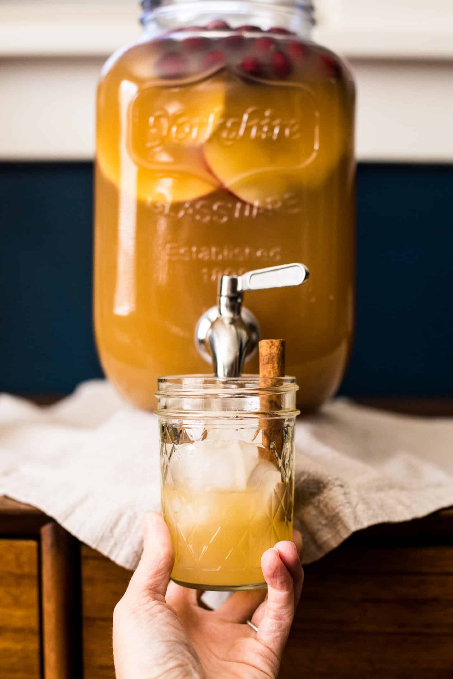 Apple Cider Punch with Bourbon in a glass jar