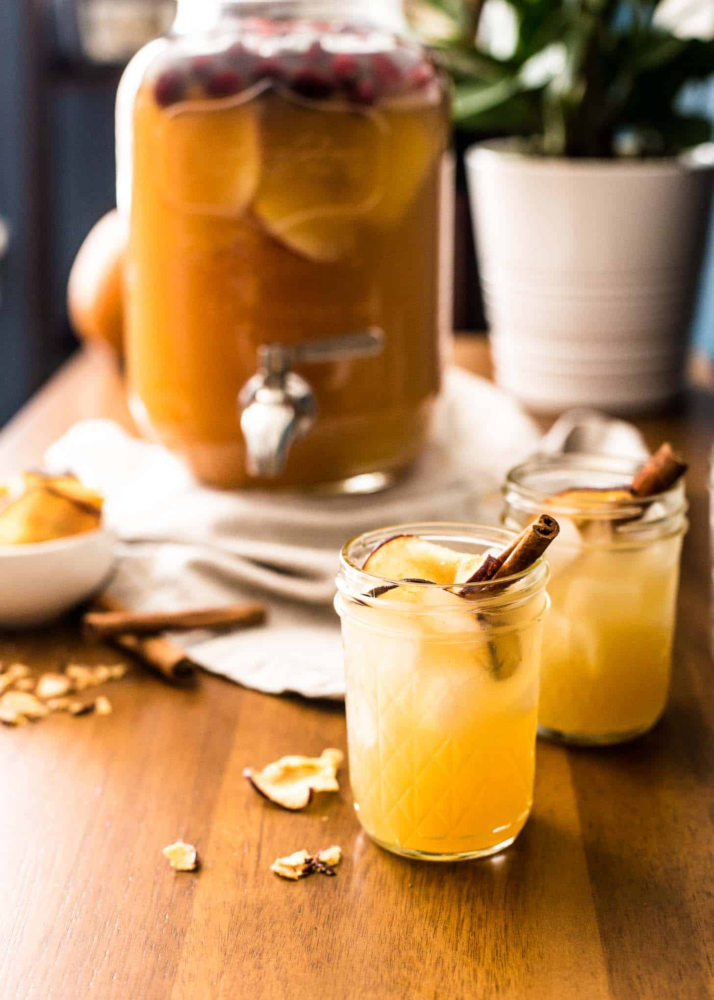 Apple Cider Punch with Bourbon in mason jars