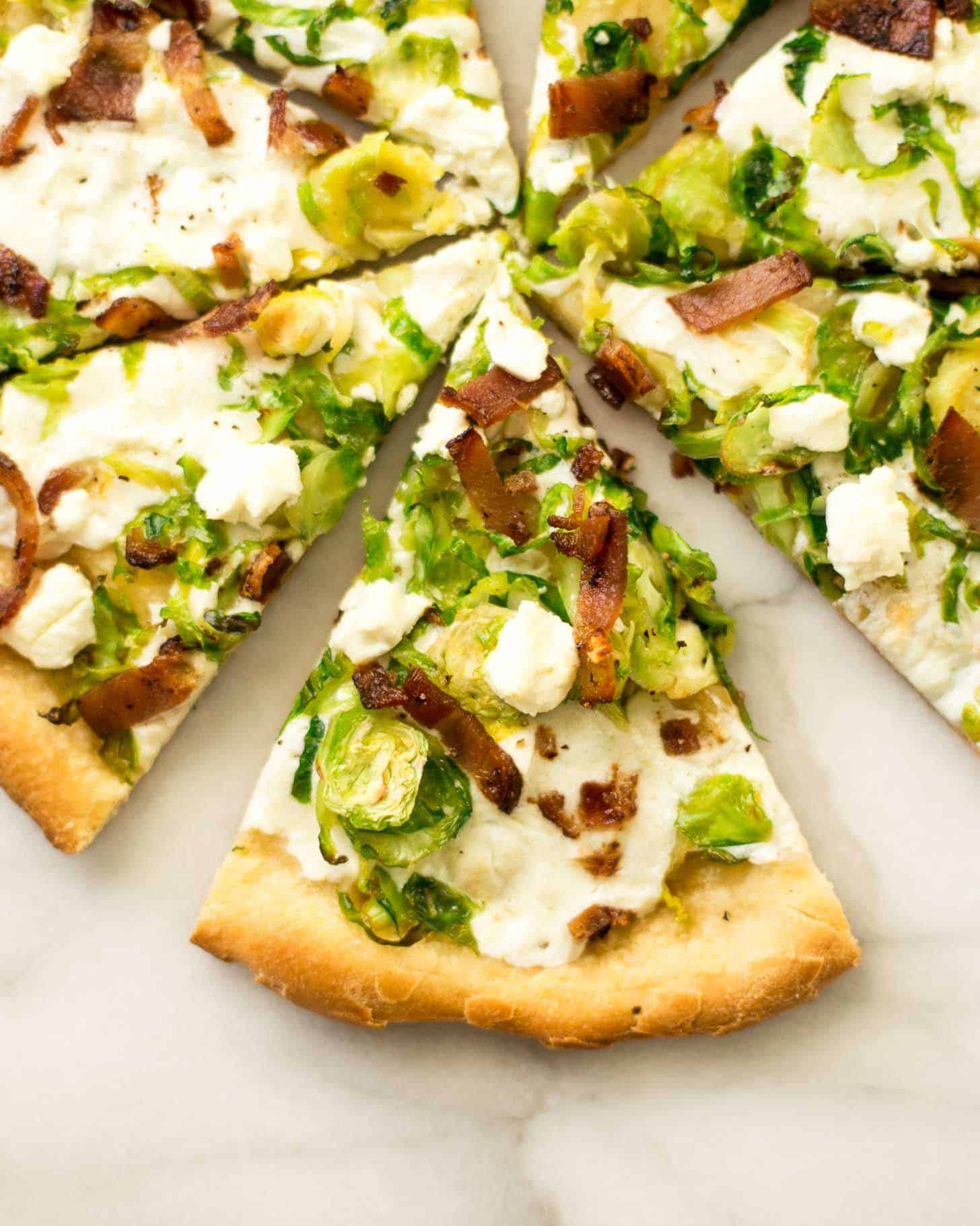 Brussels Sprouts Bacon and Goat Cheese Pizza