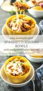 Spaghetti Squash Bowls with Marinara and Italian Sausage
