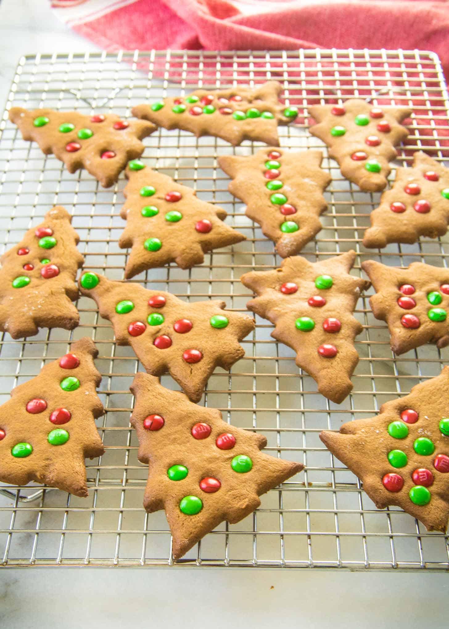 Crisp Gingerbread Cookies on a cooling rack