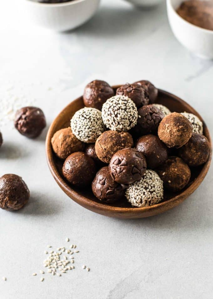 Chocolate Almond Energy Bites in a bowl