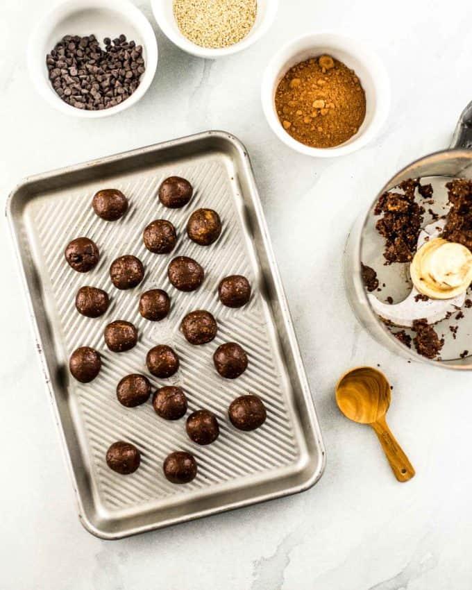 Chocolate Almond Energy Bites on a sheet pan