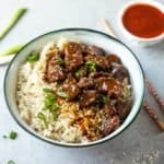 Instant Pot Korean Beef and Brown Rice in a white bowl