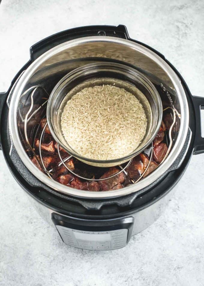 cooking Korean Beef and Brown Rice in the instant pot