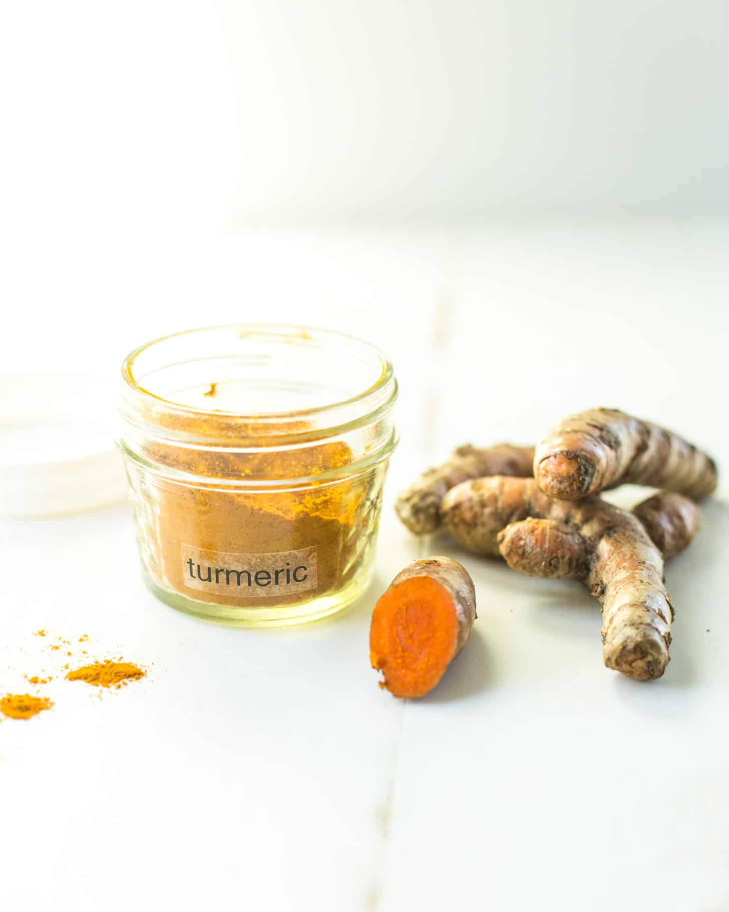 Turmeric on a white table