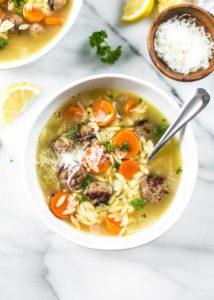 Mini Italian Meatball and Orzo Soup