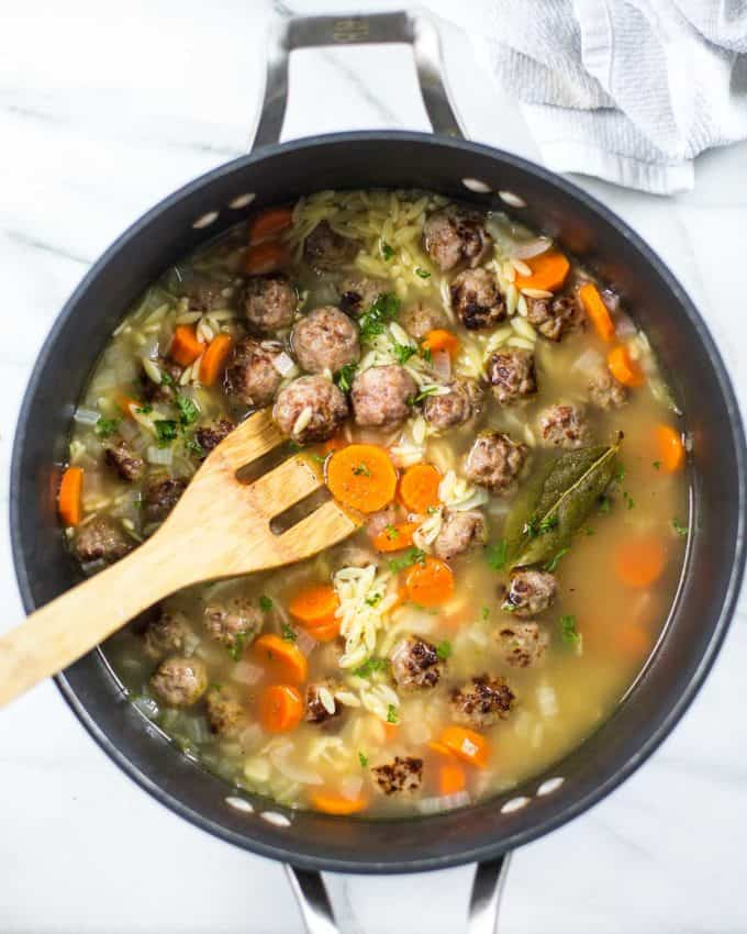 Mini Meatball and Orzo Soup in a large pot