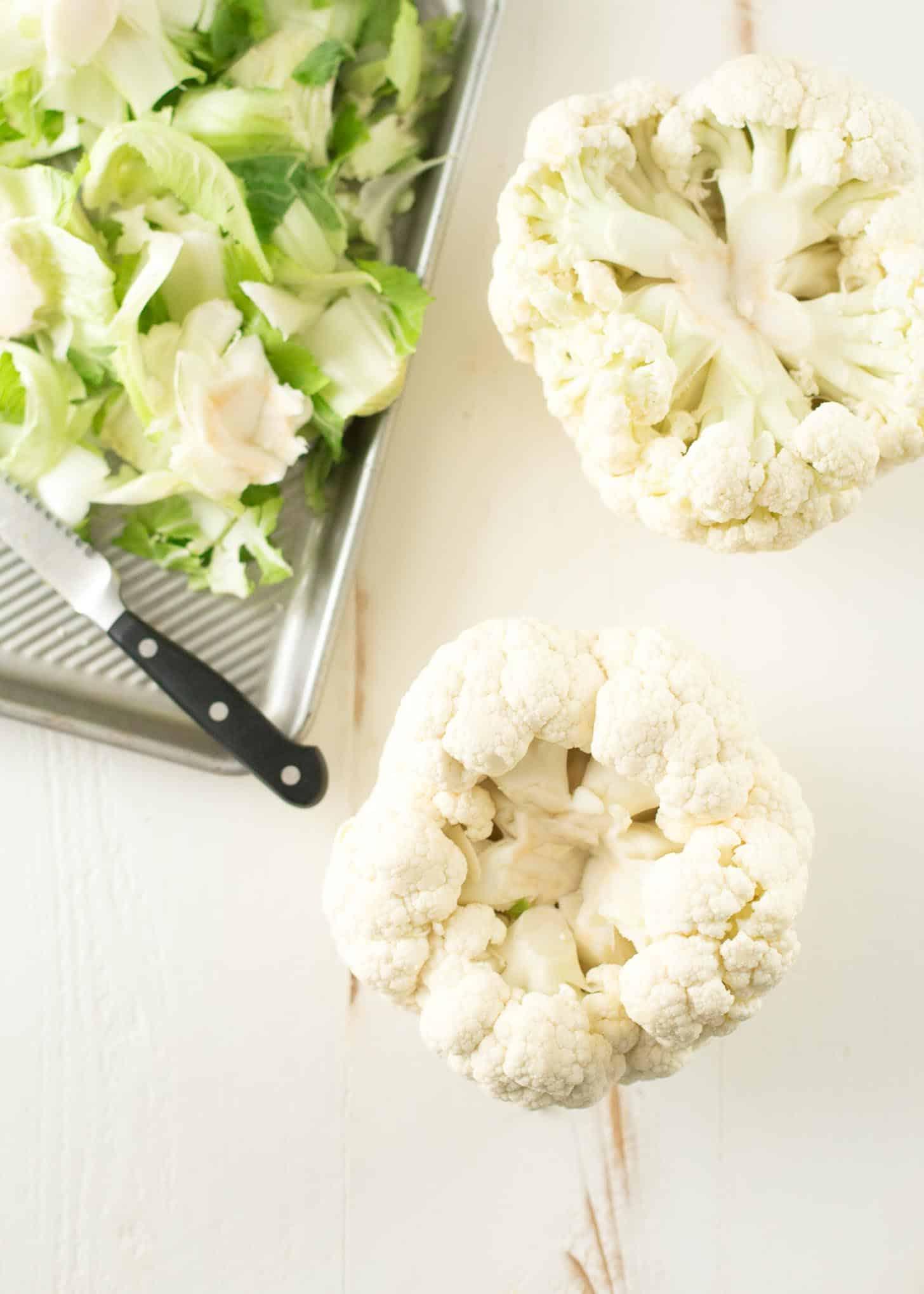 cutting raw cauliflower