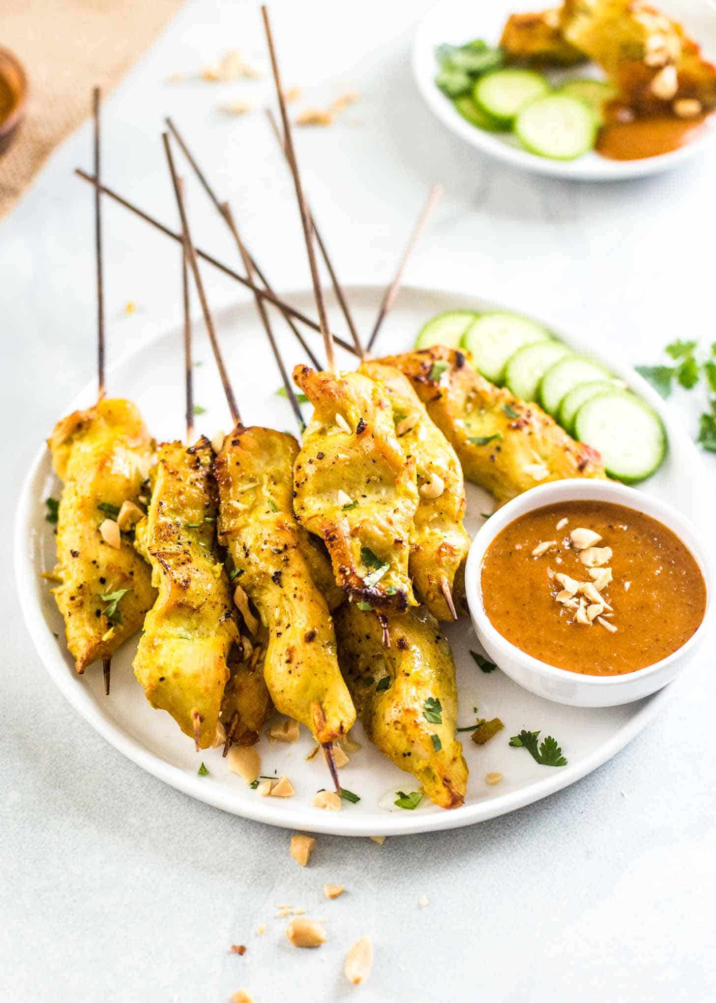Thai Chicken Satay on a plate