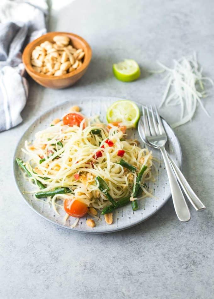 Green Papaya Salad on a plate