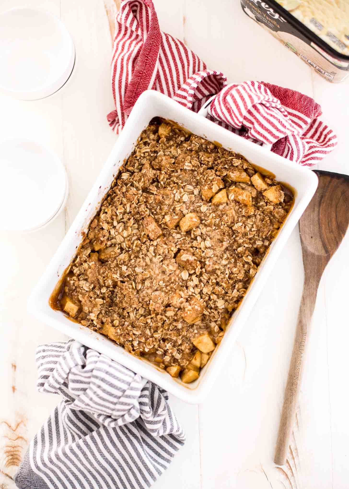 Easy Apple Crumble in a white baking dish