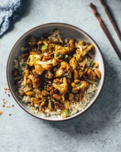 Kung Pao Cauliflower in a bowl