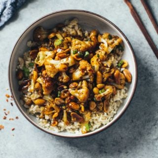 Kung Pao Cauliflower over rice