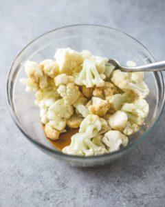 Prepping Kung Pao Cauliflower