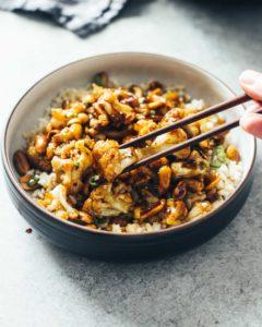 Eating Kung Pao Cauliflower