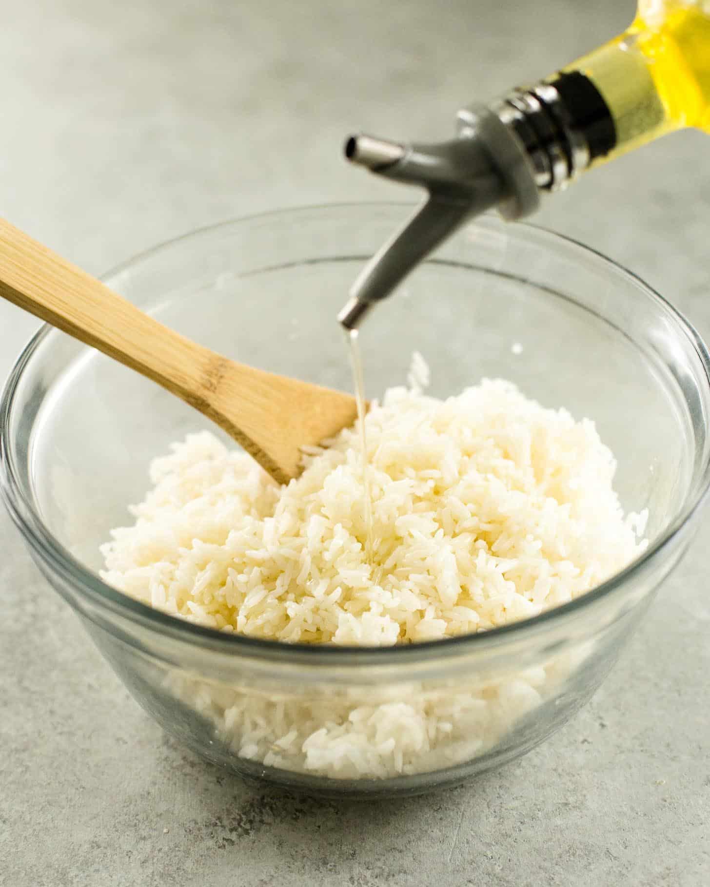 Thai Crispy Rice prep in a clear bowl