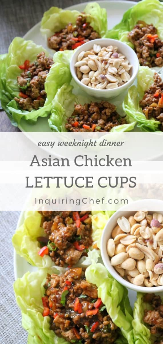Asian chicken lettuce cups have a sweet, tangy sauce and come together in 25 minutes for a healthy, fast weeknight dinner.