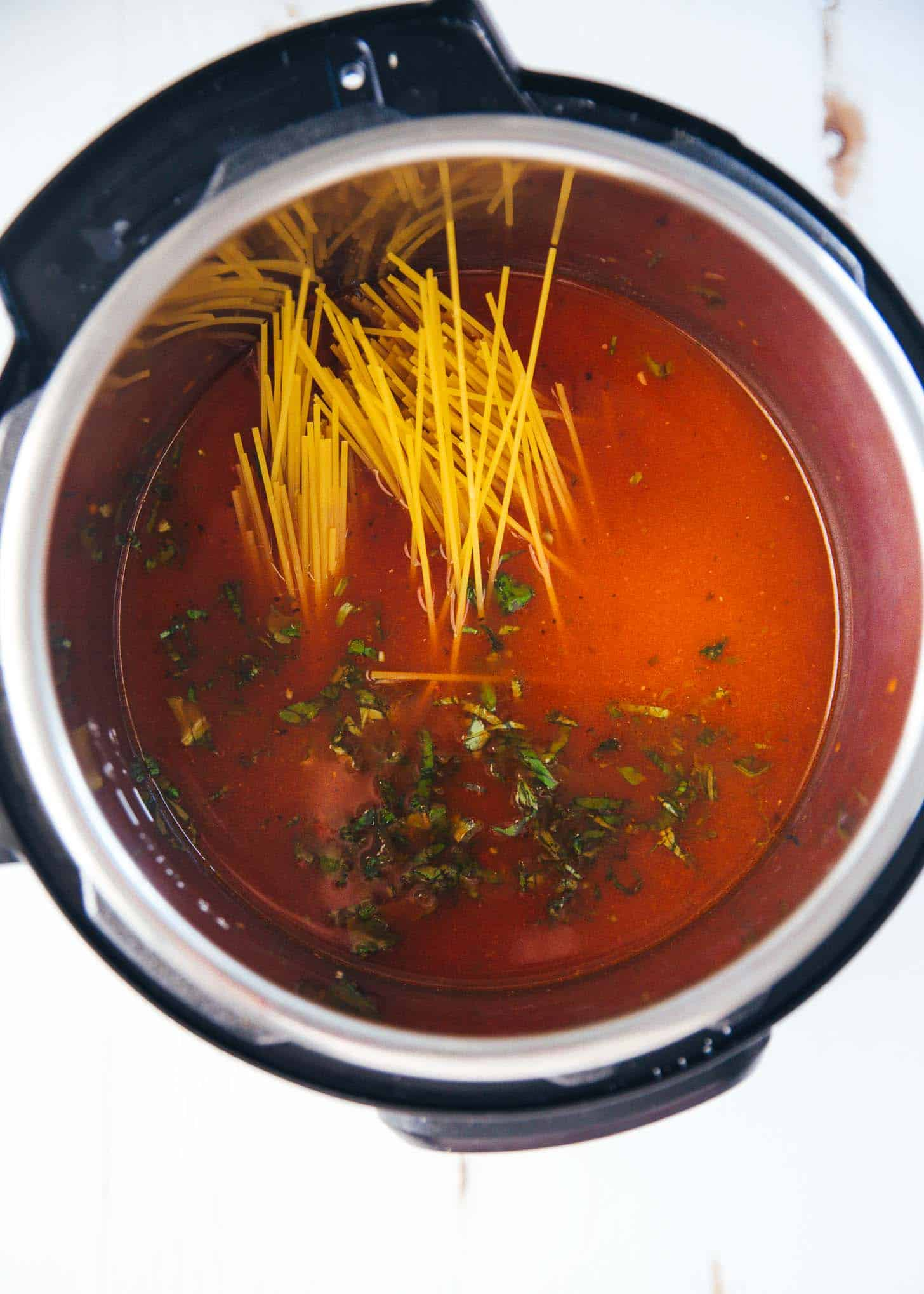 cooking pasta and sauce in the instant pot