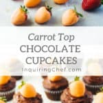 "Carrot Top Chocolate Cupcakes - As easy as dipping strawberries in orange-colored white chocolate and making your favorite cupcakes, ""carrot top"" chocolate cupcakes are perfect for Easter."