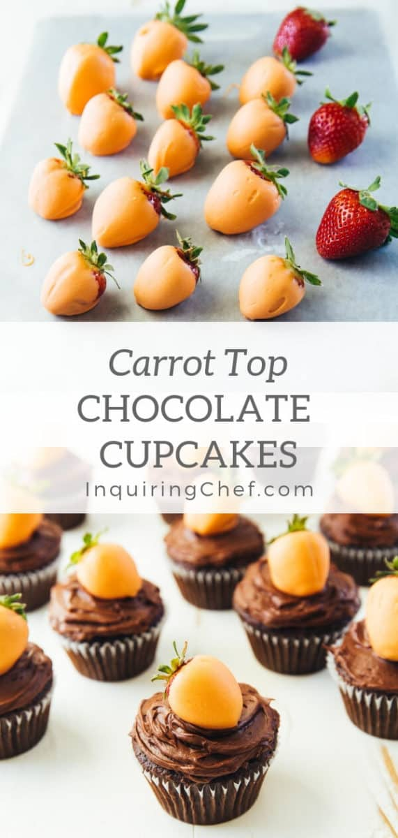 """Carrot Top Chocolate Cupcakes - As easy as dipping strawberries in orange-colored white chocolate and making your favorite cupcakes, """"carrot top"""" chocolate cupcakes are perfect for Easter."""