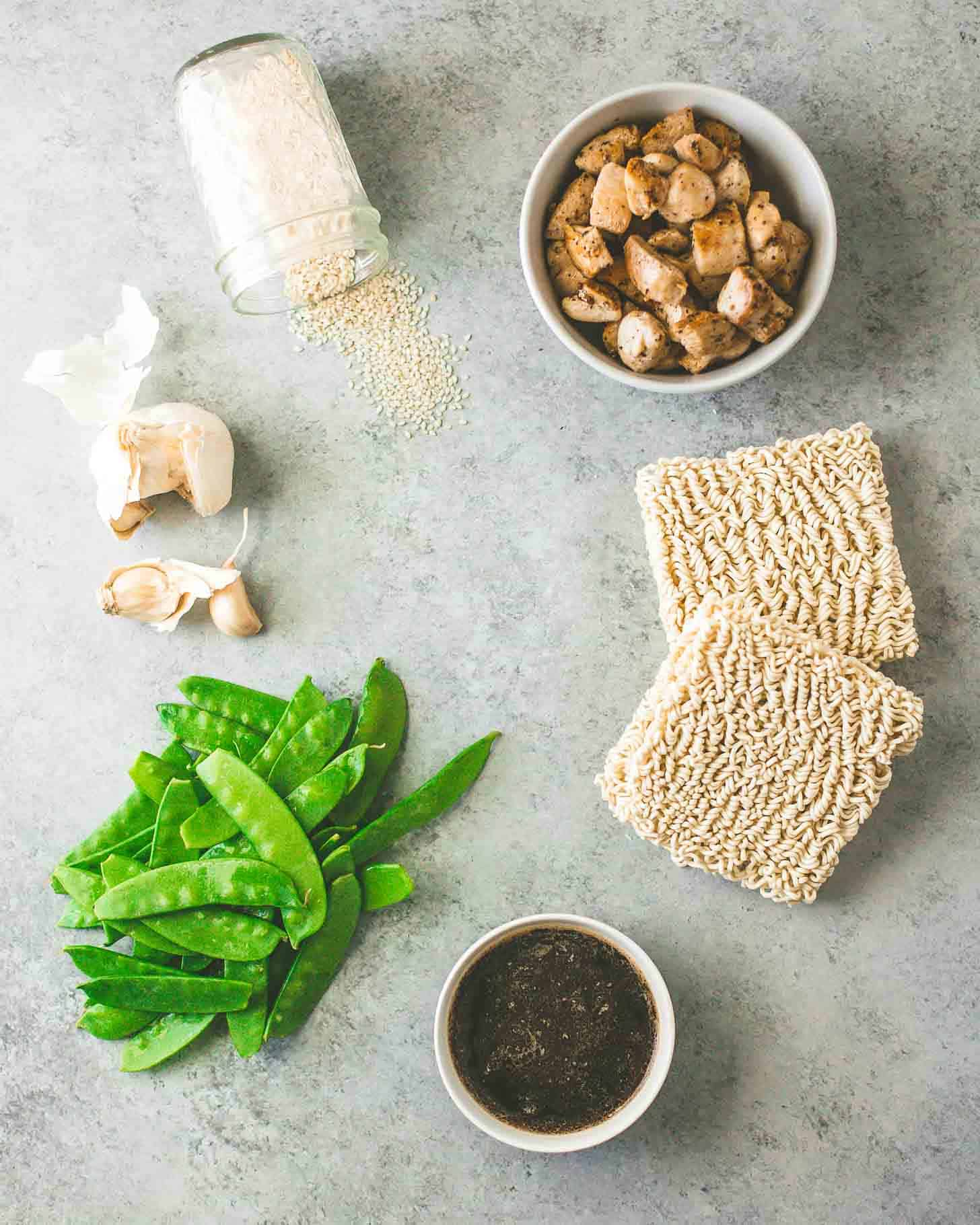 Snow peas, sauce, ramen noodles, chicken and spices