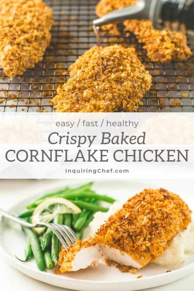 Crispy Baked Cornflake Chicken on a plate and on a baking sheet