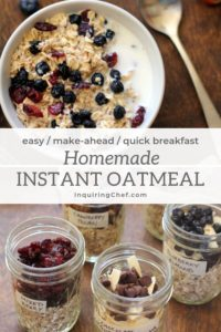 Homemade Instant Oatmeal in jars on a table and in a bowl