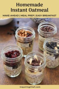 Homemade Instant Oatmeal in jars on a table