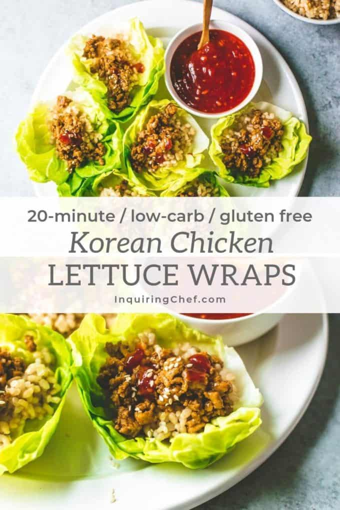 Korean Chicken Lettuce Cups on a platter with spicy Korean dipping sauce