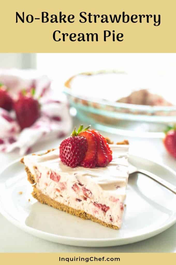 No Bake Strawberry Cream Pie on a plate with fresh strawberries