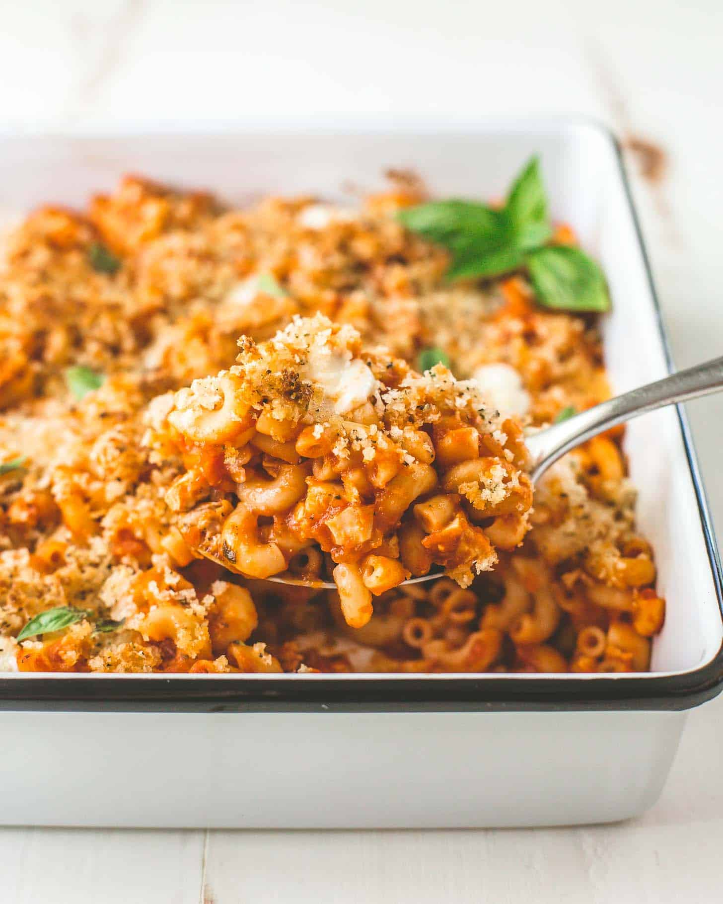 a spoonful of Chicken Parmesan Pasta Bake