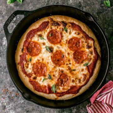 Deep Dish Pizza in a cast iron skillet