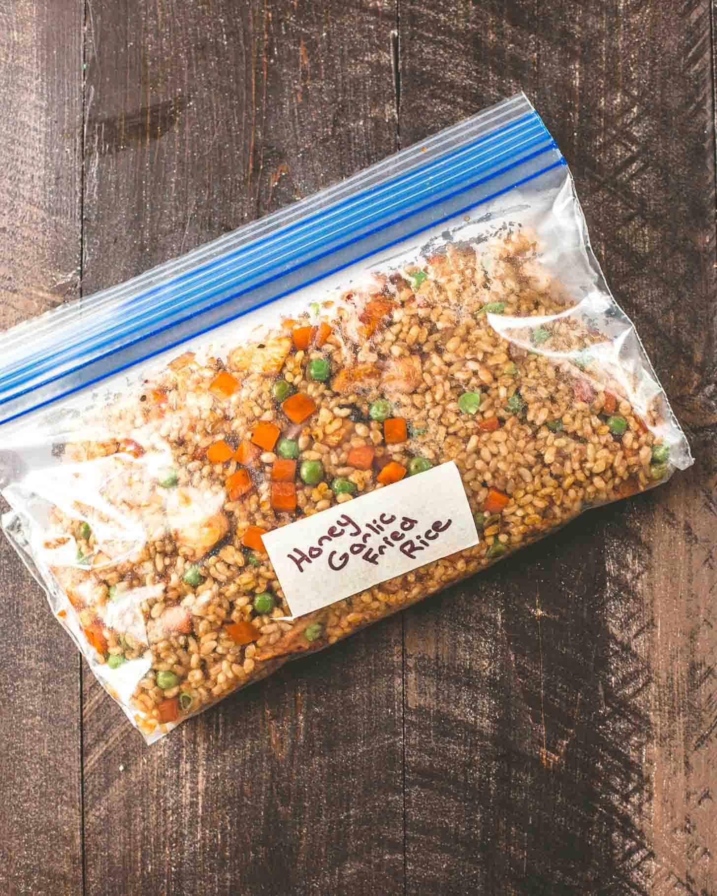 Honey Garlic Chicken Fried Rice in a freezer bag