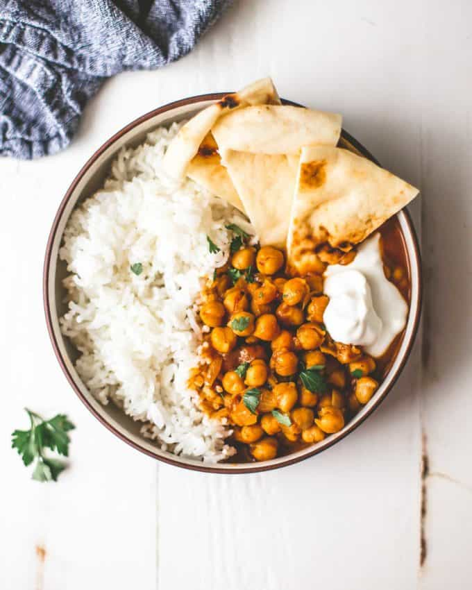 Instant Pot Chickpea Curry with Basmati Rice in a bowl