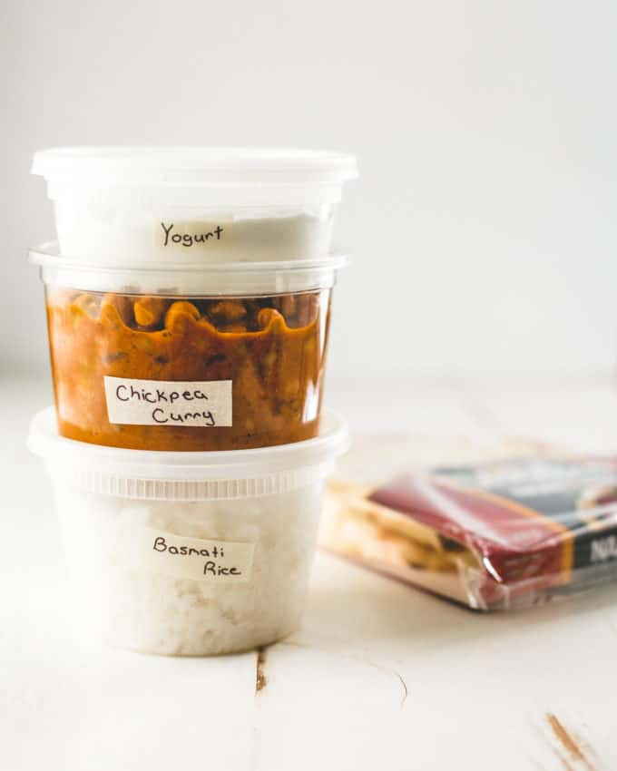 Instant Pot Chickpea Curry, rice, and yogurt in plastic containers